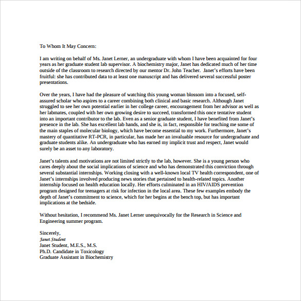 sample personal letter of recommendation 16 download