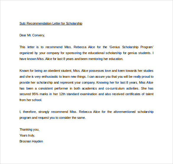 Letter Of Recommendation Scholarship Personal