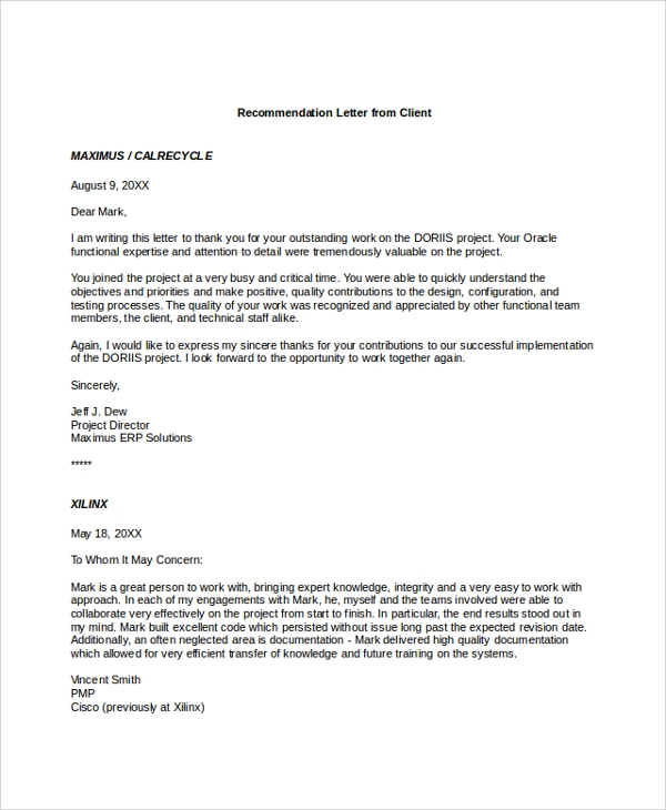 Reference Letter Template For Employment