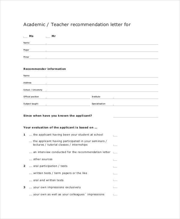 letter of recommendation for academic teacher