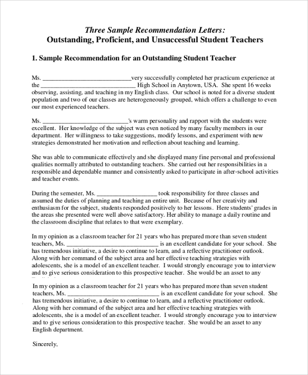 Recommendation For An Outstanding Student Teacher