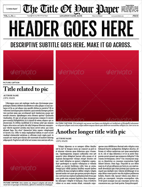 newspaper templates for word