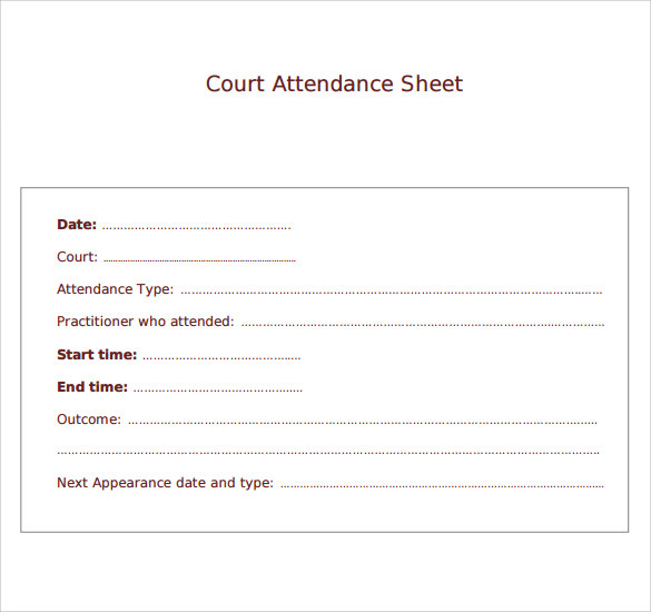 court attendance sheet