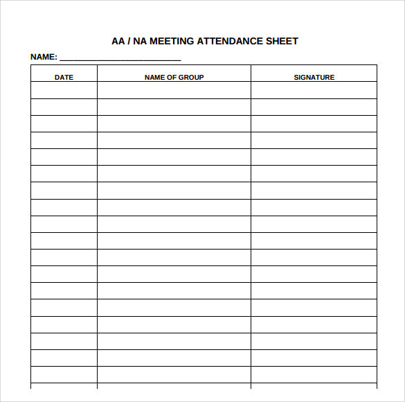 Sample Attendance Sheets  NinjaTurtletechrepairsCo