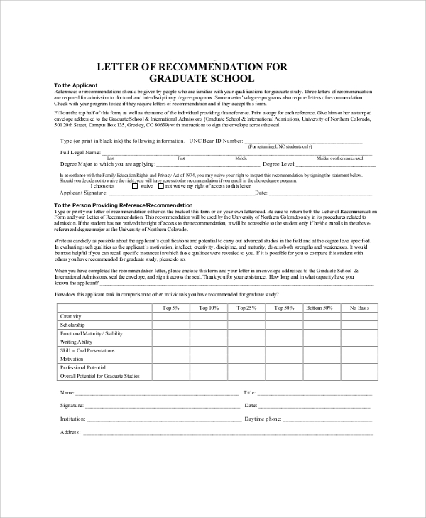 38 sample letters of recommendation for graduate school for Letter of recommendation template for college admission