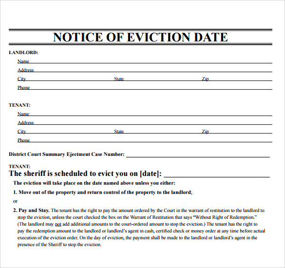 Free Printable Eviction Notice Template Pdf  Landlord Eviction Notice Sample