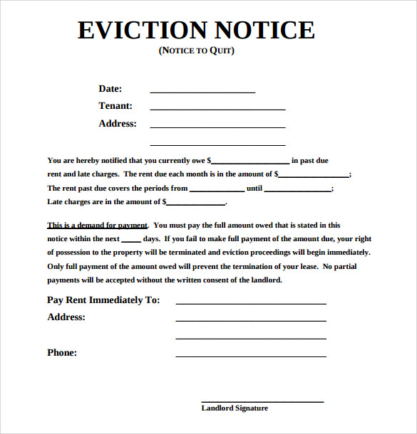 High Quality Sample Eviction Notice Form With Eviction Notice Letter