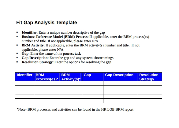 Gap Analysis Template - 16+ Download Free Documents in PDF
