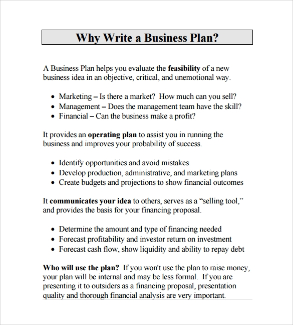 Business Plan Proposal Pdf Template Free