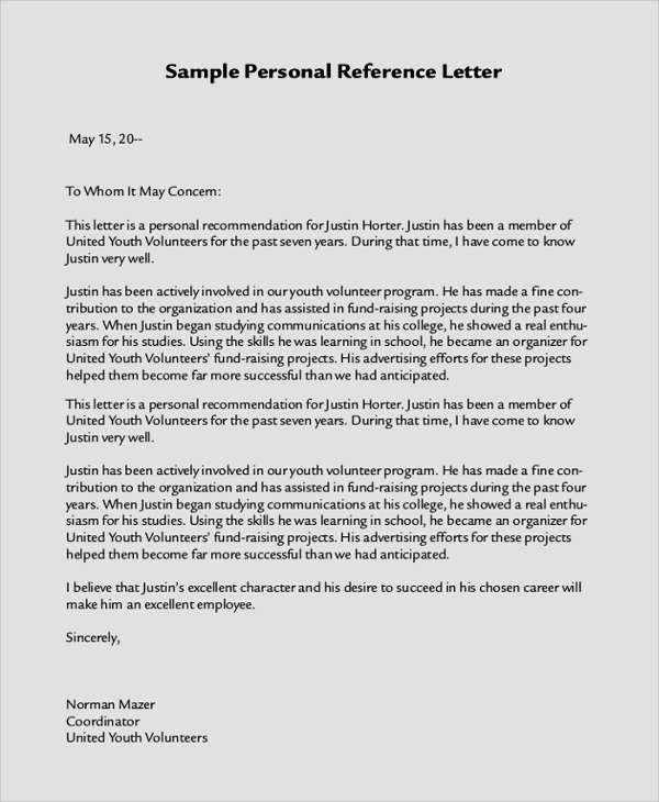 Personal Letter Of Recommendation For Youth Volunteer  Letter Of Recommendation Word Template
