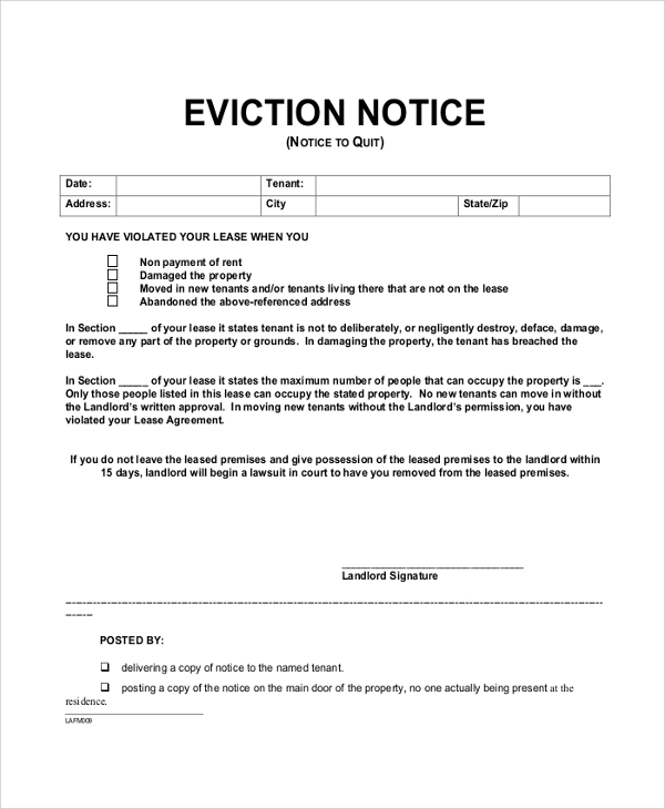 Lease Termination Notice To Tenant. Landlord Tenant Agreement To