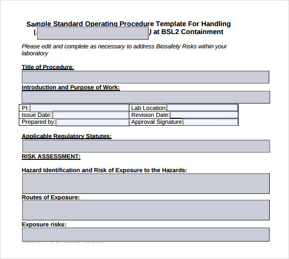Sample SOP Template 20 Free Documents in Word PDF Excel – Free Standard Operating Procedure Template Word