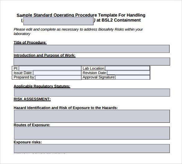 free procedure template word
