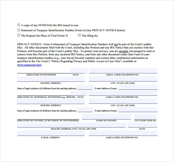 printable petition template
