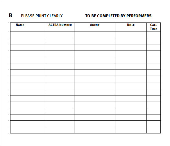 Audition Sign In Sheet Template