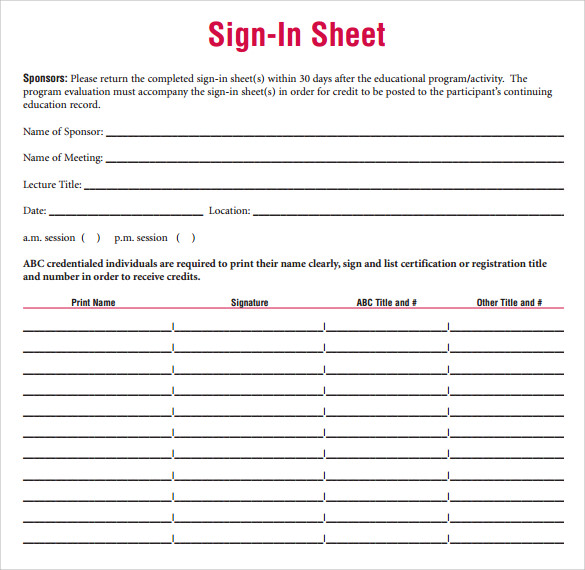 Free Blank Printable Student Sign In Sheet