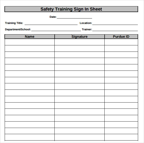 Safety Training Sign In Sheet  Excel Sign In Sheet Template