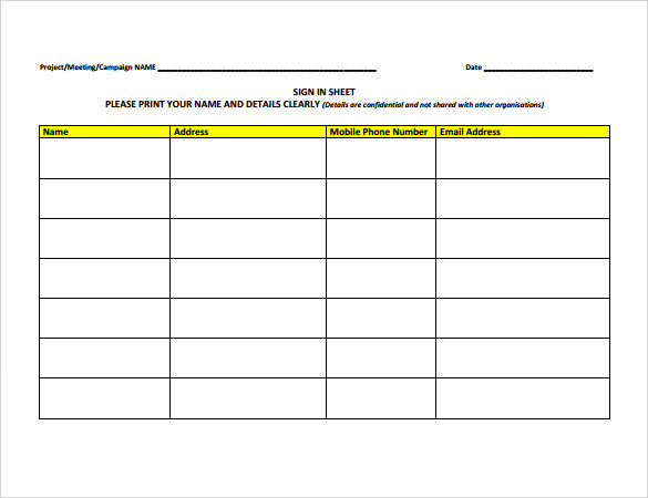 Sign In Sheet Template 21 Download Free Documents In