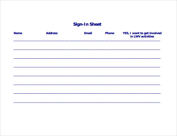 Sign In Sheet Template   Download Free Documents In Pdf Word