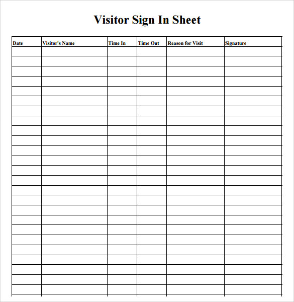 Sign In Sheet Template 21 Download Free Documents in PDF Word – Signing in Sheet Template