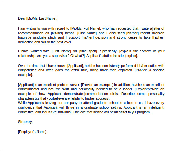 Letters of recommendation for graduate school 38 download free letter of recommendation for graduate school from employer in word spiritdancerdesigns Images
