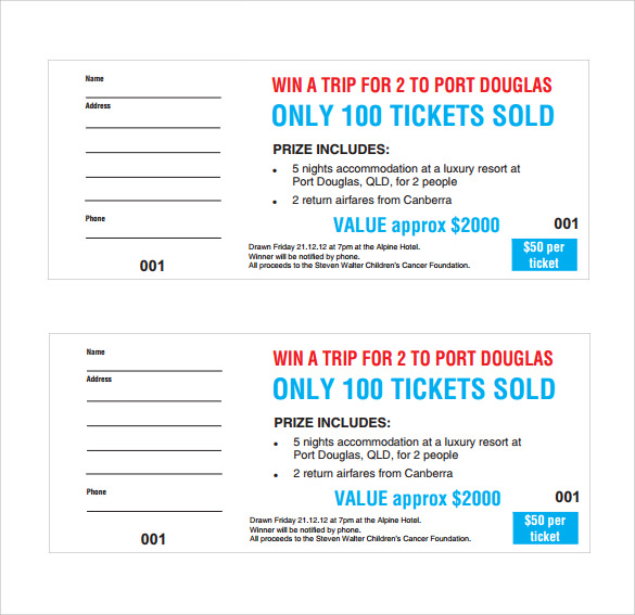 Sample Raffle Ticket Template 20 PDF PSD Illustration Word – Free Printable Ticket Template