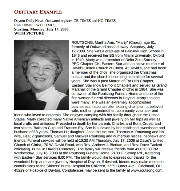 Sample Obituary Template   Documents In Pdf Word Psd