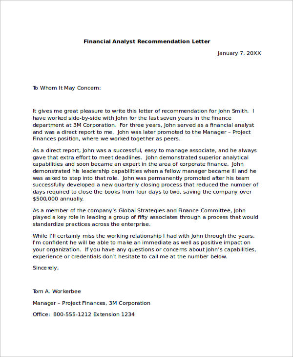 Financial Recommendation Letter Sample