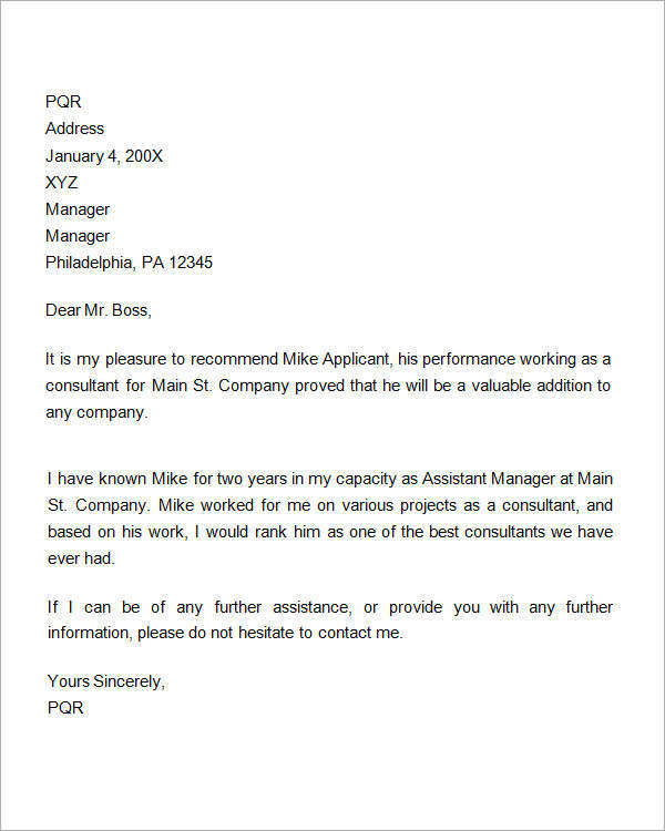 Recommendation Letter For Employment Promotion Within Format Of Recommendation Letter From Employer