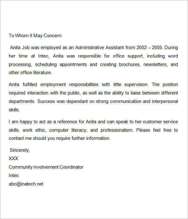 Sample Recommendation Letters For Employment 12 Documents in Word – Sample Work Reference Letter