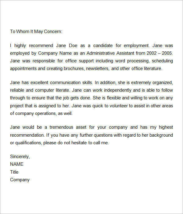 Sample Recommendation Letters For Employment 12 Documents in Word – Job Recommendation Letter