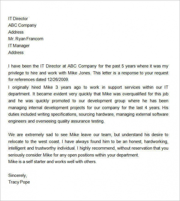 Perfect Personal Recommendation Letter