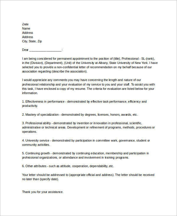 recommendation letter for an employee