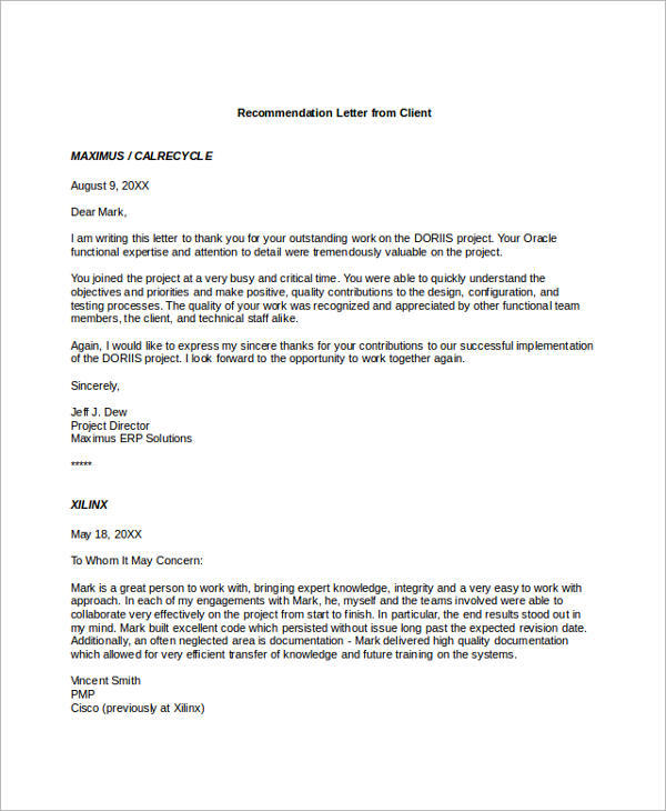 Sample Recommendation Letters For Employment   Documents In Word