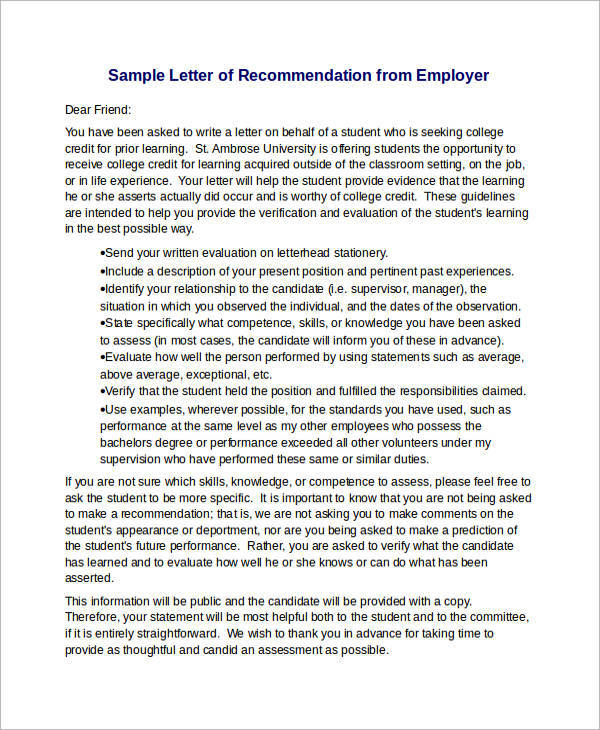 12 sample recommendation letters for employment in word sample sample letter of recommendation from employer4 expocarfo Choice Image