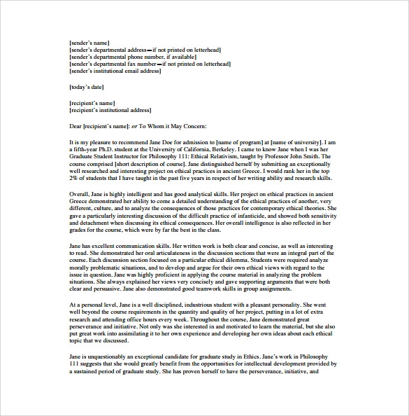 sample letter of recommendation for student from proffesor