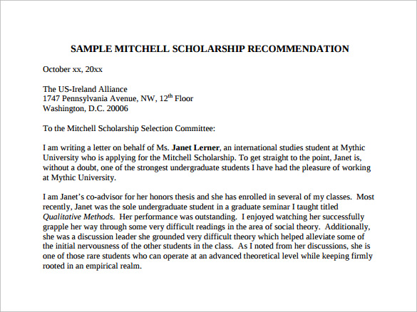 letters of recommendation for student for scholarship pdf free download
