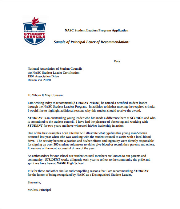 letter of recommendation for student council pdf free download