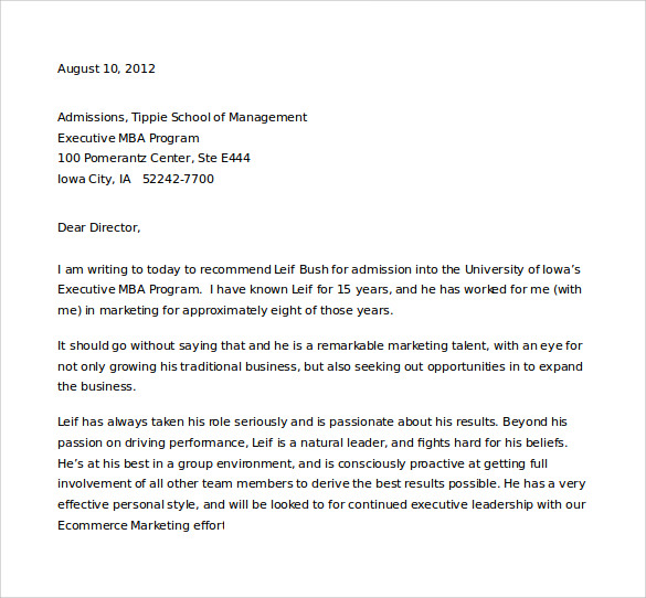 letter of recommendation for student admission word free download