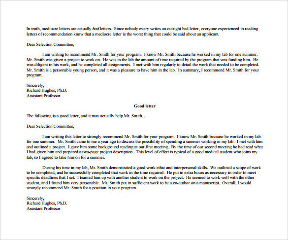 sample letter of recommendation for student free download