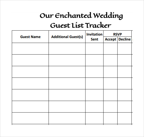 Sample Wedding Guest Lists