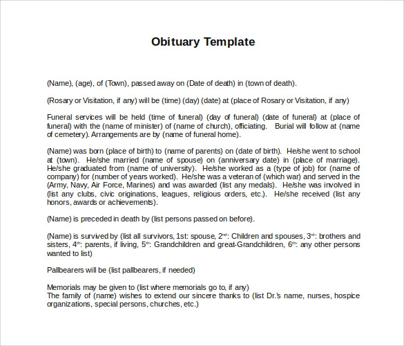 free 15  printable obituary templates in pdf