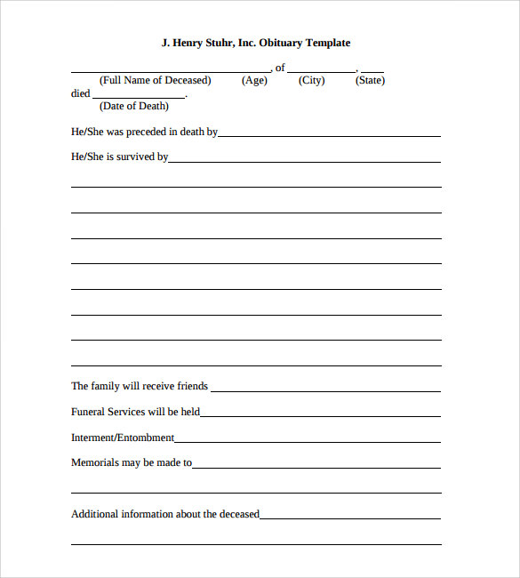 obituary outline template 13 printable obituary templates sample templates