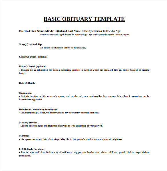 sample obituary template 11 documents in pdf word psd