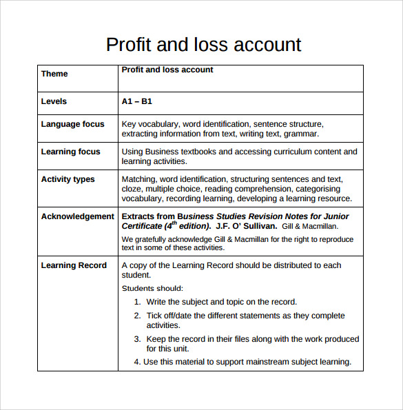 Profit and Loss Template 18 Download Free Documents in PDF Word – Sample Profit and Loss Form