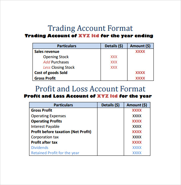 format of profit and loss account template