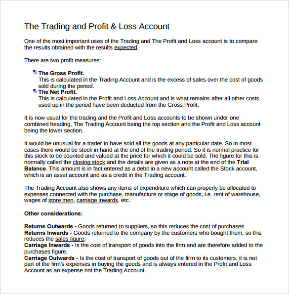 Profit and loss account template profit and loss account for year template thecheapjerseys Images