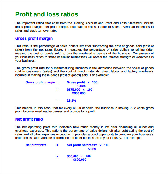profit and loss ratio template