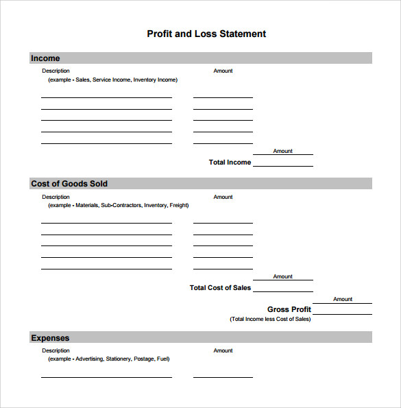 Profit And Loss Staement – Loss and Profit Statement Form