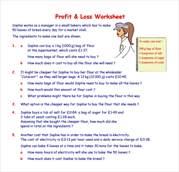 profit and loss worksheet for self employed